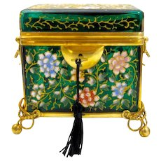 Antique MOSER Bohemian Emerald Green Casket Box Enamelled with Colourful Peony Flowers Throughout.