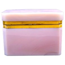 An Unusual Antique Pink Lithyalin Glass Rectangular Casket Box with Smooth Dore Bronze Mounts and Lift Clasp.