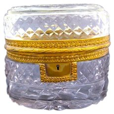 Antique French BACCARAT Cut Crystal Oval Shaped Jewellery Casket Box.