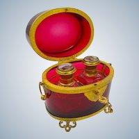 Large Antique Palais Royal Ruby Perfume Casket Box and Original Key