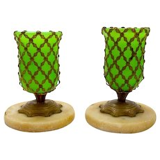 Pair of French Miniature Opaline Glass  Vases