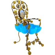 Large Antique French Blue Opaline Glass Chair Ring and Jewellery Holder.