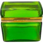 Antique Italian Murano Domed Clear Green Glass Casket Box .