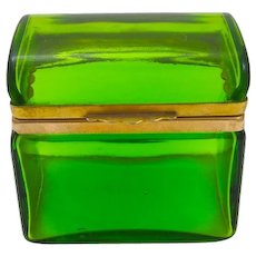 Antique Italian Murano Domed Clear Green Glass Casket Box .