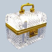 "Large Antique Baccarat Cut Crystal Glass ""Chest"" Casket Box with Domed Lid & Key"