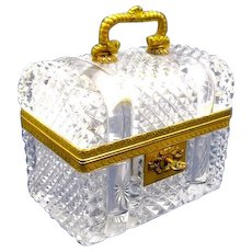 "Large Antique Baccarat Cut Crystal Glass ""Chest"" Casket Box with Domed Lid and Key in Working Order."