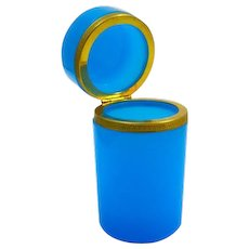 Antique French Blue Opaline Glass Cylindrical Casket Box with Smooth Dore Bronze Mounts