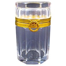 An Antique Baccarat Tall Cylindrical Cut Crystal Casket with Dore Bronze Mounts and Bow Clasp.