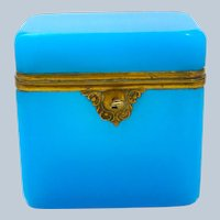 Large Antique French Blue Opaline Glass Casket with Fancy Lock