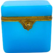 Large Antique French Blue Opaline Glass Casket with Smooth Dore Bronze Mounts and Fancy Lock