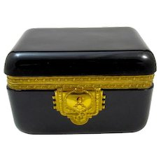 Large Antique French Black Opaline Glass Casket with Fine Intricate Dore Bronze Mounts.
