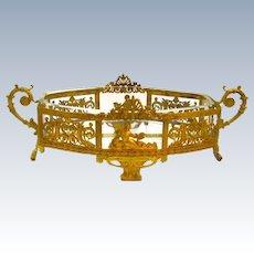 Antique Napoleon III Oval Dore Bronze and Crystal Jardiniere