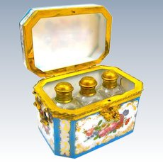 Rare Blue Opaline BACCARAT Perfume Casket Box By Jean Francois Robert with Fine Dore Bronze Mounts and Original Key.