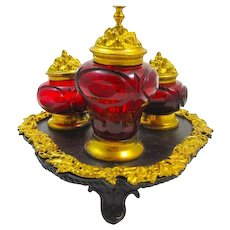 Antique French Ruby Red Cut Crystal 3 Piece Ink Set on a Stunning Bronze and Dore Bronze Base.