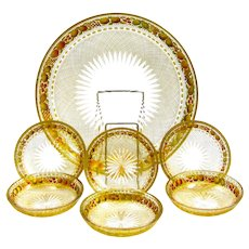 Amazing High Quality MOSER Enamelled Set Comprising of 1 Large Dish and 6 Side Dishes.