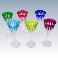 """6 Vintage Cut Crystal St Louis """"Tommy Glasses' 20cms High (7.9"""")"""