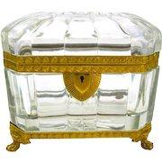 Superb Antique Baccarat Cut Crystal Casket with Fine Dore Bronze Mounts
