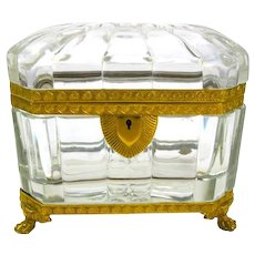 Superb Antique Baccarat Cut Crystal Casket with Fine Dore Bronze Mounts