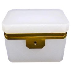 Vintage Italian Murano White Opaline Glass Casket Box with Smooth Mounts.