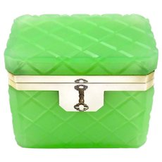 Vintage Italian Murano Green Opaline Glass Casket Box with Smooth Mounts.