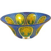 Large Moser Finely Detailed Blue and Gold Filigree Bowl with Floral Engraved Cabochons.