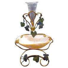 LARGE Antique Palais Royal Mother of Pearl, Flower, Watch and Jewellery Holder.