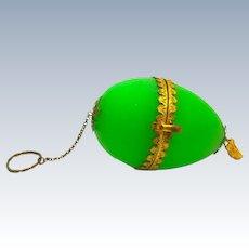 Antique Palais Royal Green Opaline Glass Egg Chatelaine.