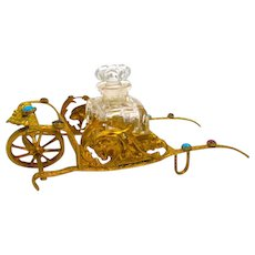 Antique French Dore Bronze Palais Royal Jewelled Cart Perfume Set.