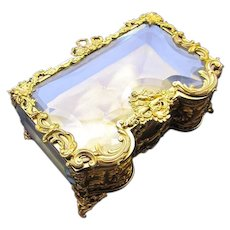 Antique French Napoleon III Dore Bronze and Crystal Jewellery Casket