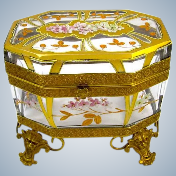 Unusual Antique MOSER Art Nouveau Glass Casket with Cherry Blossom Design