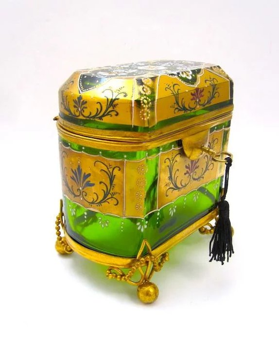 Stunning Large Antique MOSER Glass Casket with Enamelled with a Typical  Moser Hand Painted Design
