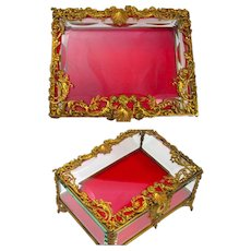 A Very Large Antique French Napoleon III Dore Bronze and Crystal Jewellery Casket with Red Velvet Interior.