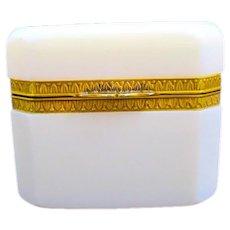 Antique French White Opaline 'Bulle de Savon' Glass Casket Box