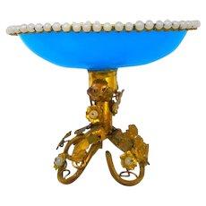 Antique French Palais Royal BlueOpaline Glass Bowl
