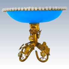 Antique French Palais Royal Blue Opaline Glass Bowl