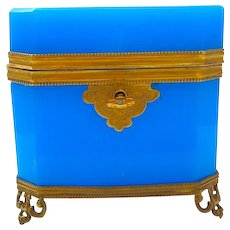 High Quality French Rectangular Blue Opaline Glass Casket Box.