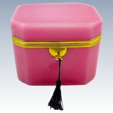 Rare Antique French Pink Opaline Glass Casket with Clipped Corners and Smooth Dore Bronze  Mounts.