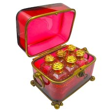 Large Antique BACCARAT French Ruby Glass 6 Perfume Bottle Casket