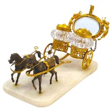 Impressive Large Palais Royal BACCARAT French 19th Century Dore Bronze & Crystal Cart