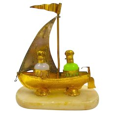 Antique Palais Royal 'Boat' Opaline Glass Perfume Set