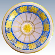 Stunning Antique Bohemian MOSER Blue and Gold Enamelled Bowl Decorated with Flowers.