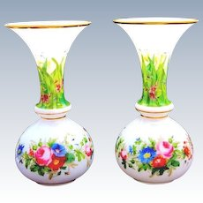 Pair of Antique Baccarat French Opaline Glass Vases