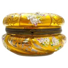 Large Antique Round Cranberry MOSER Casket with Applied White & Powder Pink Glass Flowers and Leaves.