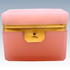 Vintage Italian Murano Pink Opaline Glass Casket Box with Smooth Mounts and Key.