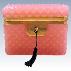Antique Pink Opaline 'Diamond Cut ' Rectangular Casket Box with Smooth Dore Bronze Mounts