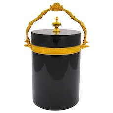 Antique Murano Black Opaline Glass Casket Box .