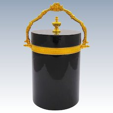 Antique Murano Black Opaline Glass Casket Box .