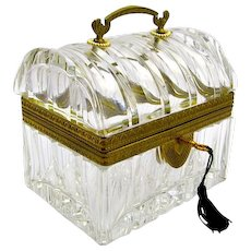 Antique BACCARAT Rectangular Highly Cut Crystal Casket .