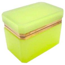 Vintage Italian Murano 'Lemon' Glass Casket Box .