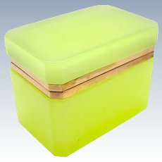 Vintage Italian Murano 'Lemon' Glass Casket Box .